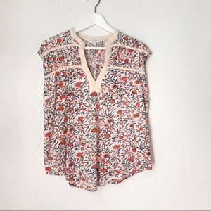 Lucky Brand Orange Floral Oversized Top Blouse. S